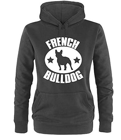 Luckja French Bulldog Damen Hoodie Schwarz-Weiss Grösse