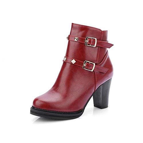 AalarDom Damen Niedrig Spitze Weiches Material Hoher Absatz Rund Zehe Stiefel, Rot, 38