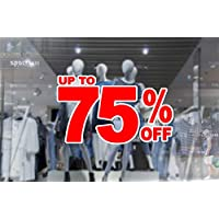 1 x wall window display sale sticker - up to 75 percent off - red print on white cut out - self adhesive weather proof vinyl sticker label - size - 450mm x 280mm