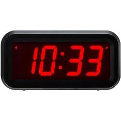 """Horloge numérique ChaoRong Small Wall / étagère / bureau avec 1.2 """"grand écran à piles. 4pcs batteries peuvent garder l'affichage du temps jour et nuit pendant plus d'un an (noir)"""