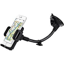 Soporte de coche, Mpow Grip Flex Soporte Universal de parabrisas de coche/Soporte de coche con base extra salpicadero y succión doble fuerte para iPhone 7/7Plus/6S Plus/6S/5/5C/5S/Se, Samsung S6/S5Nota 5/4/3, HTC, Sony, LG y otros teléfonos inteligentes, dispositivos GPS