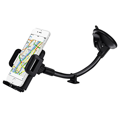 Mpow  Car Mount,Grip Flex Universal Windshield Car Phone Holder/Car Cradle with Extra Dashboard Base and Dual Strong Suction for iphone 7/7 Plus/6s Plus / 6s / 6 Plus / 6 / 5 / 5c / 5s / SE, HTC, Sony, LG and Other Smartphones, GPS Devices