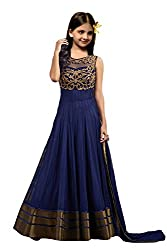 S R Fashion Girls Newly Launch Net Shalwar Suit With Embroidery Work (Kids Designer Blue_Copper_Dress With Dupatta Copper Kids 002)