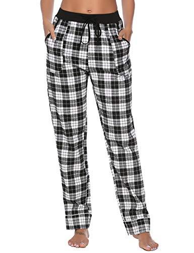 Aibrou Damen Baumwolle Karierte Schlafanzughose Pyjamahose Schwarz M