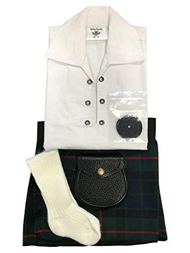 GUNN moderntartan Baby regolabile Kilt Outfit, Tubo flessibile, Sporran, 0-24mesi - Verde Kilt Tubo