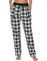 3293500e1ab0 Aibrou Ladies Pyjama Bottoms, 100% Cotton Flannel Check PJS Lounge Pants  Trousers