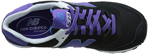 New Balance NBWL574MON Sneaker, Donna Black/Purple