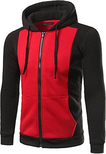 jeansian Casuale Uomo Giacca Zipper Felpa con Cappuccio Della Tuta Sportiva Hoodie Jacket 88J0 Red