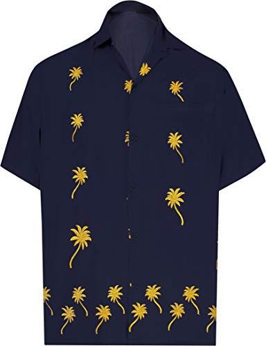 LA LEELA Beach Hemd männer Hawaiihemd Kurzarm Button Down Kragen Fronttasche Beach Strand Hemd Manner Urlaub Casual Herren Aloha 3XL Navy Blau_W838 -