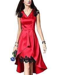 Dolamen Mujer Cordón Vestidos, V Neck Vintage y estilo retro, Slim Fit rodilla-largo, sin mangas A línea vestido de encaje, perfecto para el partido de noche, el cóctel y la boda