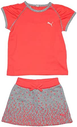 Puma Infants Girls T-Shirt and Skirt Set for 2 - 4 Months (Paradise Pink/ Athletic Gray Heather)