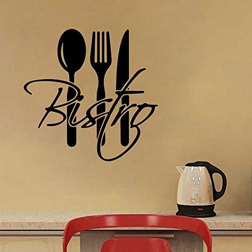 Tianpengyuanshuai Cuchillo y Tenedor Etiqueta de la Pared extraíble Artista decoración de la Vida Cocina PVC Papel Pintado Etiqueta de la pared45x45cm