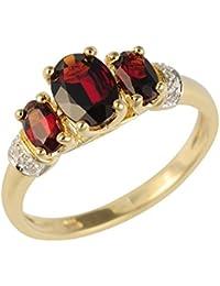 Ivy Gems Ring, 9 Karat (375) Gelbgold, drei Steine, Granat, Diamanten