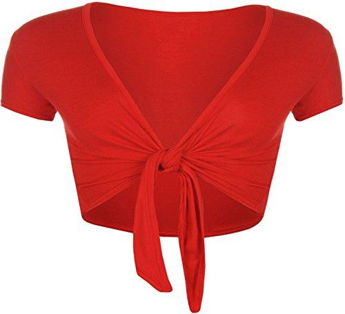 Islander Fashions Damen Kurzarm Plain Front Krawatte Bolero Top Damen Phantasie Cropped Cardigan Shrug Rot Medium/Large (Cropped Cardigan Front)
