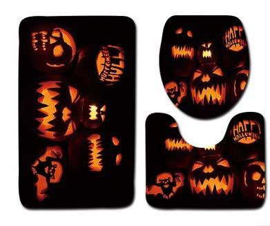 Halloween Party Set Halloween-Kürbis-Toiletten-Matten-Badezimmer-Satz von DREI Halloween 03 1 Satz für Festival Cosplay Halloween ()