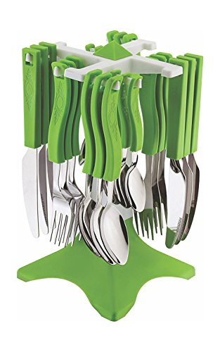 Triton Retails Stainless Steel 25 pcs Cutlery Set made from Virgin plastic, Dinner Spoons 6 Pcs + Dinner Forks 6 Pcs + Soup Spoons 6 Pcs + Ice Cream Spoons 6 Pcs + 1 Butter Knife free, Designer table top stand included  available at amazon for Rs.499