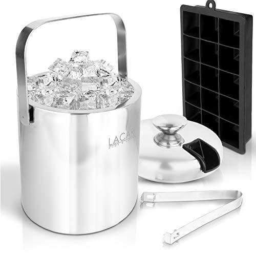 Lacari ® Premium Eiswürfelbehälter - GRATIS Eiswürfelform Silikon + E-Book - mit Deckel und Zange - Hochwertiger Eiseimer Aus Doppelseitigem Edelstahl - Zur Aufbewahrung Von Eis Oder Flasche