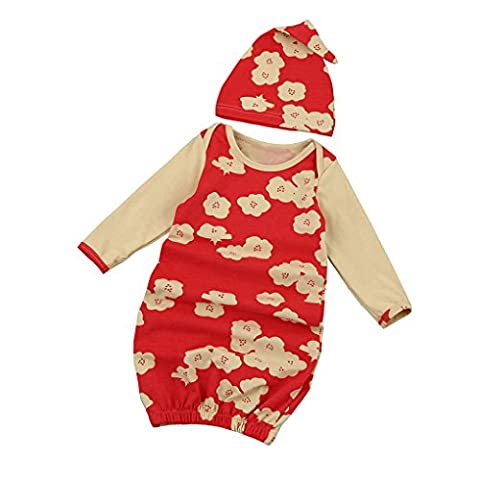 JYJM Newborn Infant Kids Baby Girl Long Sleeve Pajamas Gown+Hat Outfits Clothes Set (Größe: 6-12Month, Rot)