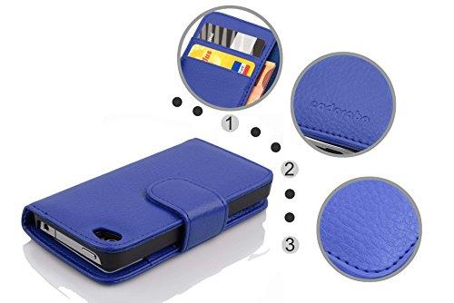 Cadorabo - Custodia Book Style Design Portafoglio per Apple iPhone 4 / 4S / 4G con Vani di Carte - Etui Case Cover Involucro Bumper in LILA-BORDEAUX BLU-MARINA