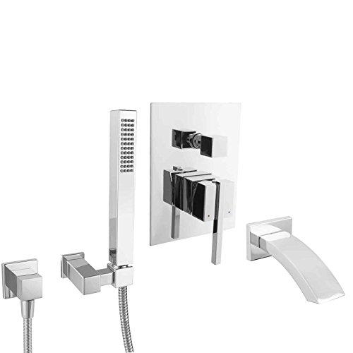 PaulGurkes unterputz Wannenset Badewanne Armatur eckig UP Montage Komplett Set eckiges Design Schwalleinlauf Einhebelmischer Mischbatterie massiv Messing verchromt