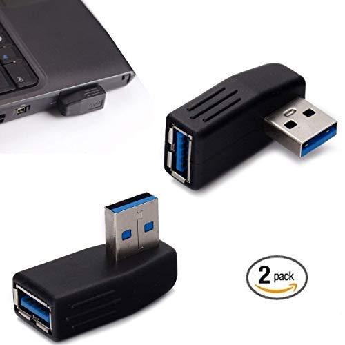 Semlos USB-Adapter, 90Grad rechter Winkel USB 3.0Adapter Stecker auf Buchse, USB-Anschluss Extender, Steckerverbinder, 2Stück inkl. Winkel Links und Winkel rechts Adapter - Extender-usb-link