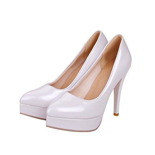 AllhqFashion Damen Lackleder Ziehen auf Spitz Zehe Hoher Absatz Rein Pumps Schuhe, Silber, 33