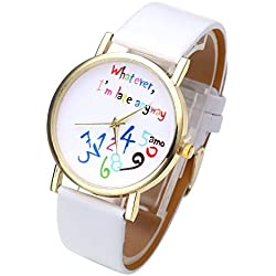 """JSDDE Uhren,Stilvoll Vintage """"Whatever, I'm late anyway"""" Bunt Schreiben Muster Quarzuhr Armbanduhr,Weiß"""