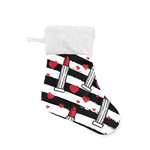Serenasyoung Weihnachts-Mini-Strümpfe, Lippenstift-Strümpfe, Geschenkkarte Süßigkeiten-Halter, Klassische Weihnachtsdekorationen für die ganze Familie, 4 Packungen à 20 x 14 cm -