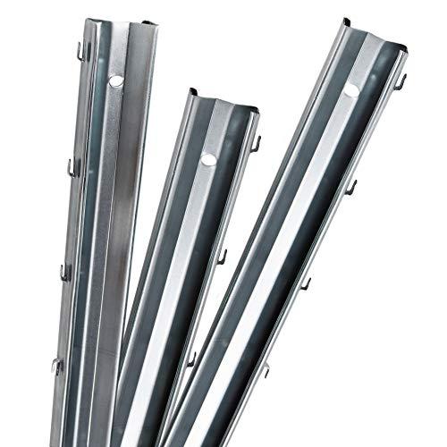 Aquagart Z-Profil Zaunpfosten 2 m verzinkt I 10 Stück Metallzaunpfosten aus Bandstahl 1,5mm stark I hochwertige Zaunpfähle für Wildzaun Weidezaun Drahtzaun Wildschutzzaun Knotengeflecht Zaun
