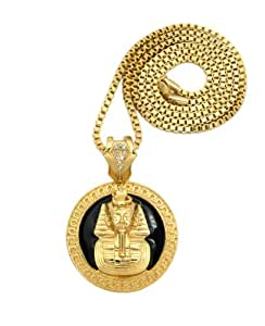 Superbe collier couleur or accentué de noir, à pendentif de pharaon, chaîne cubique l.3 mm L.76 cm RC211G