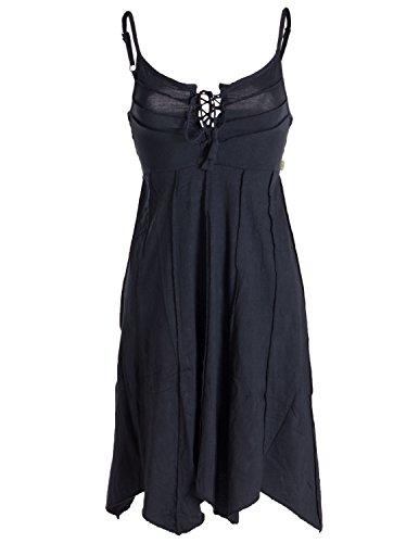 Vishes - Alternative Bekleidung - Leichtes Sommerkleid mit verstellbaren Trägern schwarz 44/ L