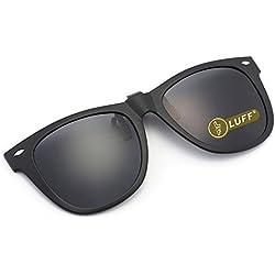 Polarisation Clip-On lunettes de soleil Unisex-Élégant et confortable clips Flip Up Myopic lunettes de soleil pour l'extérieur/Conduite/Pêche (Black)