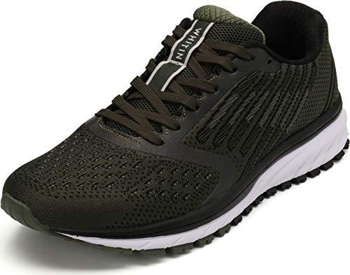 WHITIN Unisex Laufschuhe Herren Hallenschuhe Turnschuhe Sneakers Für Männer Sportschuhe Atmungsaktiv Joggingschuhe Fitness Schuhe Freizeitschuhe Armee Grün Größe 45