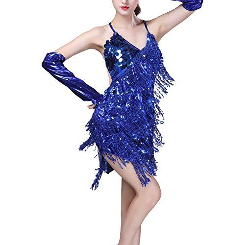 Frauen Sommer Spitze Sexy Pailletten Sling Halter Latin Dance Kleid Quaste Kostüm Tanz Minikleid 2019 ()