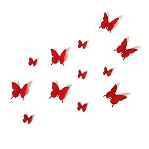 Lot de 12 Stickers Papillon 3D Rouge Violet des Stickers Stickers muraux Stickers muraux/Paroi murale/sticker mural géant-Décoration murale