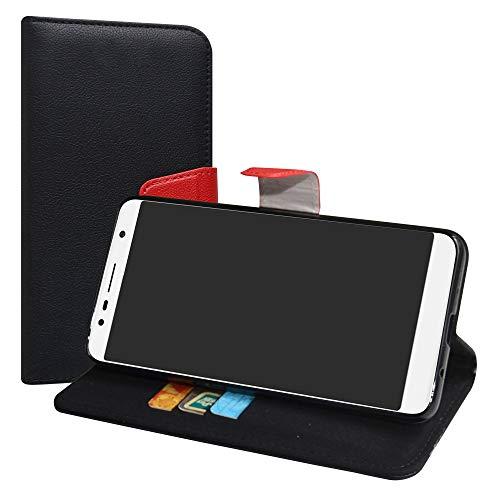 LiuShan Alcatel 3C Hülle, Brieftasche Handyhülle Schutzhülle PU Leder mit Kartenfächer und Standfunktion für Alcatel 3C (6 Zoll) Smartphone (mit 4in1 Geschenk verpackt),Schwarz