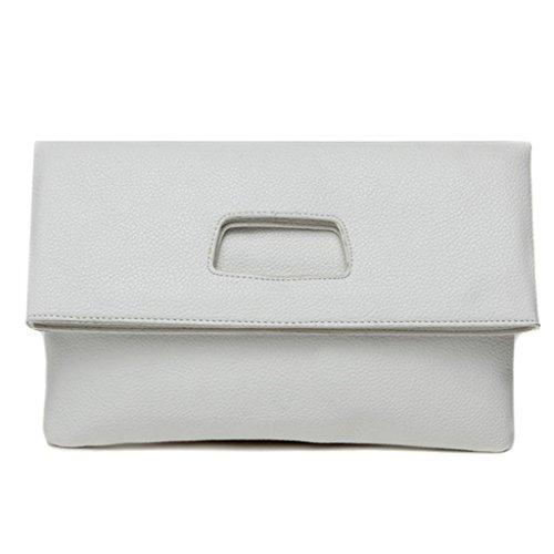 versione coreana della borsa del messaggero della spalla del pacchetto semplice pieghevole mano di nuovo modo di estate di grande capacità borse frizione ( Colore : Cielo blu ) Bianca
