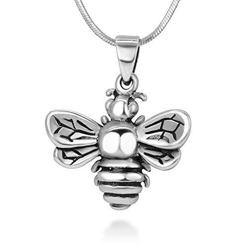(925 oxidiert Sterling Silber Queen Honey Bee Little Bumblebee Frauen Anhänger Mädchen Halskette)