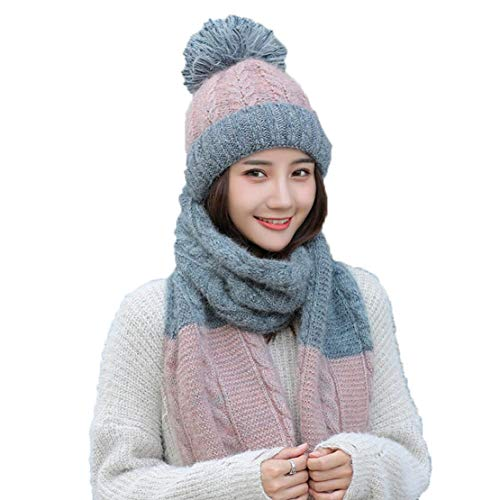 Tiadi Damen Mützen Scarf Set Warme Strickmützen Dicker Strickschal Winddicht Haube Winter Schal Frauen Langschal