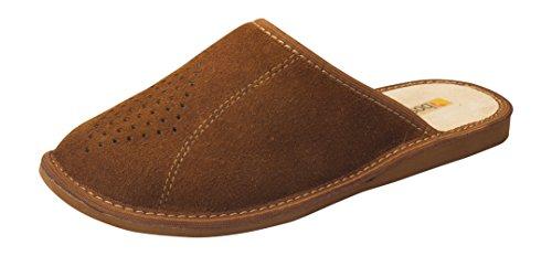 Pantofole di Lusso Scamosciate in Vera Pelle da Uomo Cammello