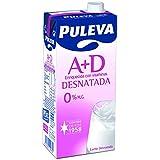 Puleva Leche Desnatada Vitaminas A+D - Pack 6 x 1 L - Total: 6 L