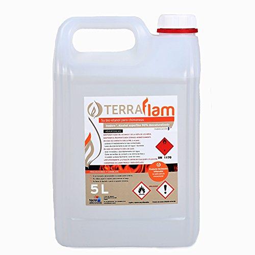 Bidon 5 Litros Bioetanol para lámparas y chimeneas, color transparente Combustión de alta calidad, no genera humos ni olores