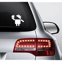 2Stk Android comiendo el logotipo de Apple adhesivo Aufkleber 12x 12cm Die Cut portátil Auto coche