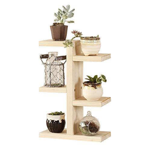 Blanketswarme Holz-Pflanzenständer Regal Blumentöpfe Halter Mini Desktop Blumenständer 3 Etagen Lagerleiter Regal für drinnen und draußen.