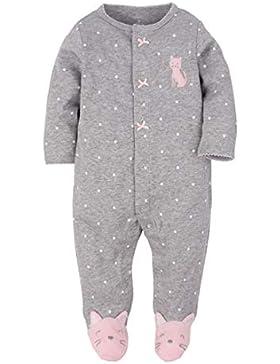 CARETOO Unisex Baby Schlafstrampler Bärchen, Baumwolle Pyjamas Cartoon Overalls mit 0-12 Monate