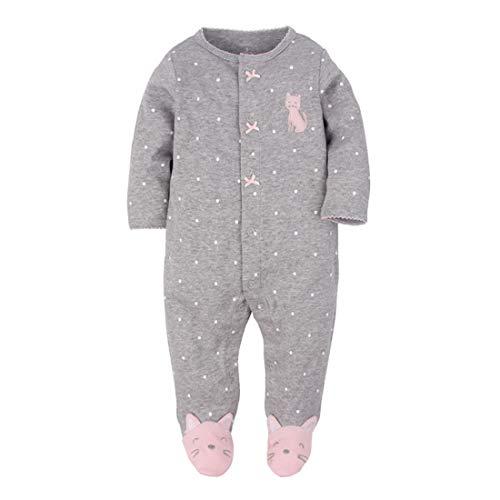 CARETOO Unisex Baby Schlafstrampler Bärchen, Baumwolle Pyjamas Cartoon Strampler, Dunkelgrau, Gr.-0-3 Monate/Etikettengröße- 3M