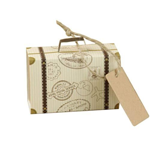 JOOFFF 10 stücke Schublade Sugar Box Einzigartige kreative Koffer Karte Vintage Kraftpapier mit Tags Nette zugunsten Box für Hochzeit Reise Themed Party Dekoration, Kofferraum