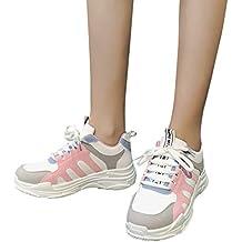 Mymyguoe Zapatillas con Cordones para Mujer,Zapatillas Deportivas,Estudiante Zapatillas de Senderismo Deportivas Aire