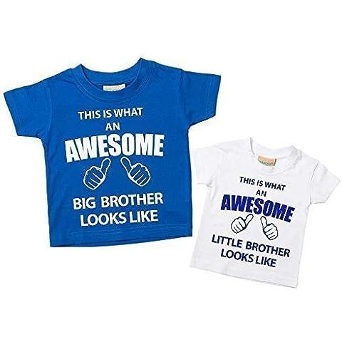 Esta Lo Que Un Impresionante hermana mayor Little Brother Tshirt Juego Disponible en color azul y blanco para bebé tamaños 0–6meses a 14–15años New Baby Brother regalo