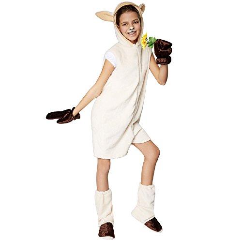 Schaf Für Kostüm Erwachsene - TecTake dressforfun Kinderkostüm Schaf | Süßes, Flauschiges Schafkostüm für Kinder | Vorne hat das Kostüm einen praktischen Reißverschluss | Inkl. Handschuhe und Beinstulpen (152 | Nr. 301546)